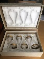 More details for 6 early moser bohemian/czech 24k gilded wine/cocktail glasses set, 1950's signed