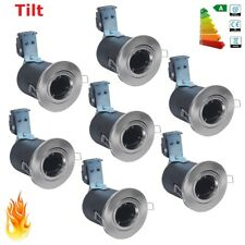 10x Brushed Chrome Fire Rated GU10 Mains Recessed Ceiling Light Spot Down Lights