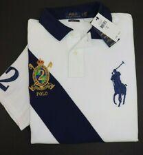 NWT $98 RALPH LAUREN Size L Mens S/S White Navy Crest CUSTOM SLIM FIT Polo Shirt