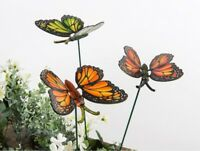 Set of 3 Butterfly Garden Stakes Pot Plant Ornament - Butterflies on sticks
