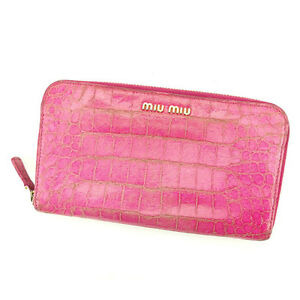 miumiu Wallet Purse Long Wallet Pink Woman Authentic Used T2195