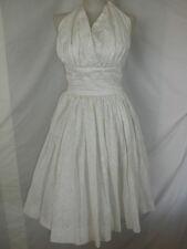 VTG 50s 60s WHITE YELLOW FLORAL PINUP ROCKABILLY HALTER DRESS MARILYN MONROE VLV