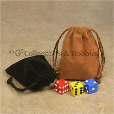 """NEW 2 Small Brown & Black Dice Bags 3"""" x 4"""" Velveteen Cloth Bag Counter Pouch"""