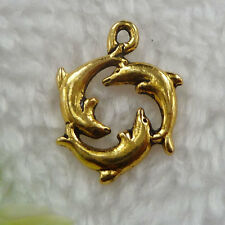 Free Ship 120 pcs gold plated dolphin charms 21x16mm #156