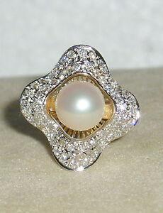 SOLID       14K Gold      AKOYA   Pearl    DIAMOND    Ring