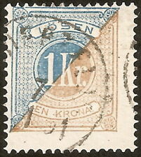 Suède: Yvert Taxe N° 10(B) (1874) perf 14 used,very fine, cat val 75€