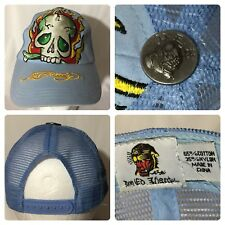 Don Ed Hardy Sky Blue Skull Rhinestone Adjustable Baseball Cap Hat Snapback DEH