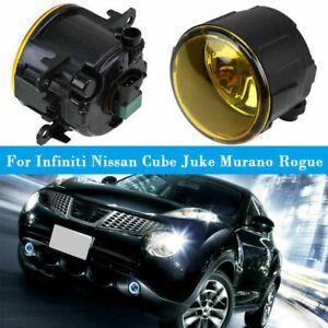 Pair Fog Lights Lamp w/Bulb H11 Yellow Assembly Fits Nissan/Infiniti 2003-2018