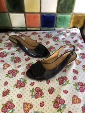 GABOR Ladies Blue Patent Leather & Suede Slingback Open Toe Sandals Size 6.5