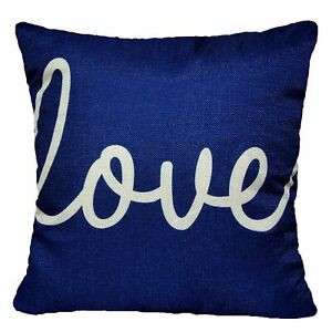 """Throw PILLOW COVER Navy Blue Linen Retro Decorative 2-Sided Cushion Case 18x18"""""""