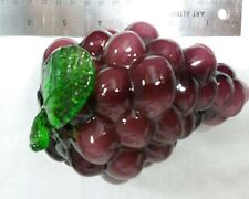 Vtg Murano Style Art Glass Decorative Purple Grapes Fruit Life Size Paperweight