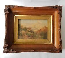 Chromolithograph European Landscape Home Castle Harvest Framed Antique Victorian