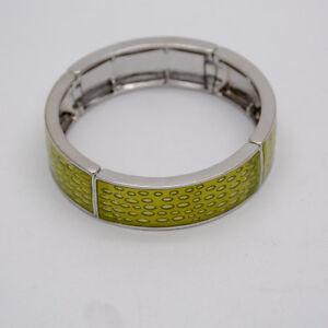 lia sophia signed jewelry Retired silver plated stretch bangle enamel bracelet