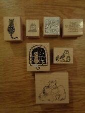 7 Cat rubber stamps stampers Cats are People Too Paws to smell the catnip MORE!