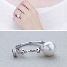 Real 100% 925 Sterling Silver Pearl Adjustable Ring Finger SOLID Silver Jewelry
