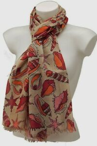 Seashell Starfish Print Long Scarf Cotton Mix Lightweight Wrap Fairtrade Tassels