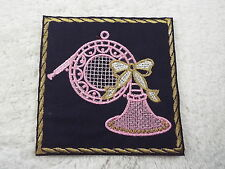 """Pink FRENCH HORN 4-1/4"""" Embroidery Iron-on Custom Patch (E4)"""