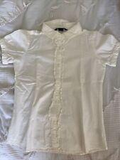 Girls Lands End Short Sleeve Button Up Blouse Uniform Size 8