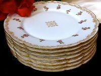LIMOGES T&V FRANCE Signed Hand Painted 22K Gold Dinner Plate Set of 7 >100 Yrs