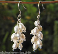 Genuine White Cultured Freshwater Pearl Dangle Earrings Silver Cluster