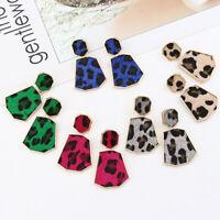 Luxury Women Snake Leather Leopard Earrings Geometric Drop Dangle Earrings NEW