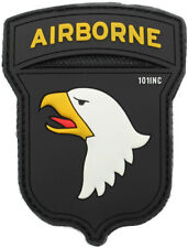 101st Airborne Patch - PVC Black US Screaming Eagles Badge Hook and Loop Backing