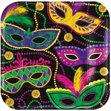 """Colorful Mardi Gras Masks Beads 8 ct 10"""" Dinner Plates Paper Square"""