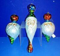 3 DECORATIVE COLLECTIBLE GLASS SANTA CLAUS CHRISTMAS HOLIDAY TREE ORNAMENTS