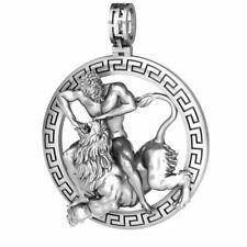 Herkules Griechische Hero Löwe Oxidierte Anhänger Halskette 925 Silber Herren