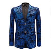 Mens Printed Floral Suits Blazer Slim Jacket Coat Lapel Wedding Nightclub Dress