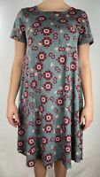 LulaRoe Women's Carly Swing Dress Green Red Pink Tribal Floral Sz XXS