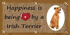 Happiness Is Irish Terrier Dog Novelty 6 x 12 Metal License Plate Auto Tag Sign