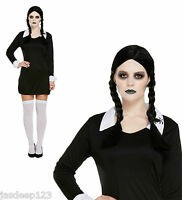 Wednesday Addams Family Fancy Dress Costume Outfit School Girl Halloween Horror