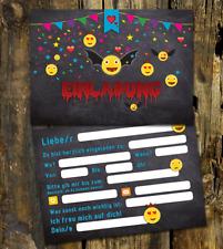 12 Einladungskarten Halloweenparty, Emoji Halloween Party, Emoji Halloween