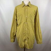 Carhartt Mens Yellow Plaid Casual Work Shirt Size XL