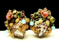 """Rare Vintage 1-1/4"""" Signed Miriam Haskell (Horseshoe) Jeweled Clip Earrings A61"""