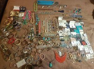 Vintage Huge *10lb* Costume Jewelery Gemstone Lot bracelets necklaces rings *NR*