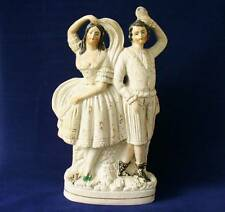 Early 19th c / Victorian Staffordshire Pottery Group  Of Dancers -