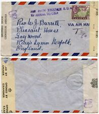 CURACAO AIRMAIL ONLY HANDSTAMP DOUBLE CENSORED 40 in VIOLET + T 2/60 10 NOV 1944