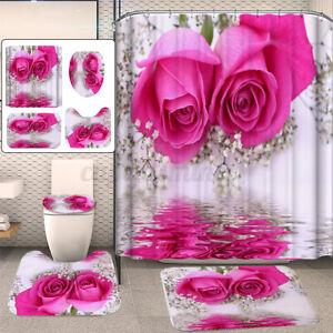 4Pcs/Set Pink Rose Waterproof Bathroom Shower Curtain Toilet Cover Mat Rug Set