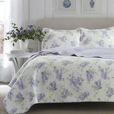 New! ~ Cozy Cottage Chic Soft Purple Lilac Lavender Green White Floral Quilt Set