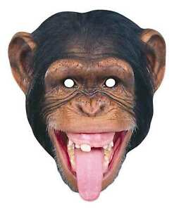 Chimpanzee 2D Animal Card Party Mask -  - Safari Wildlife World Book Day Monkey