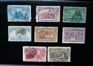 1893 Columbian Commemoratives Part Set #230 to #237 ( Eight Stamps )