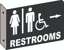 Man Woman Handicap Restroom 2D Projection Wall Mount Directional Business Sign