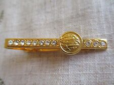 GENTS VINTAGE GOLD TONE AND RHINESTONE TIE CLIP SLIDE VGC.