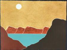 Peter Keefer Blue Lake 1981 Landscape Signed Limited Edition Collograph