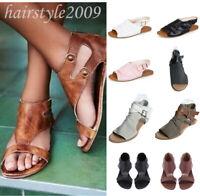 Women Strappy Gladiator Flat Heel Summer Flip Flops Beach Sandals Shoes Fashion