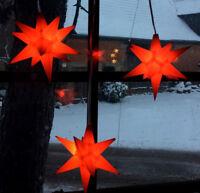 3er LED Außen-Stern-Set rot Außenstern Adventsstern Weihnachtsstern Outdoor Neu