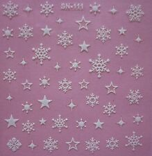 Christmas White Glitter Snowflakes Stars Nail Art Stickers Decals Transfers 111