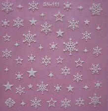 Navidad Blanco Purpurina copos de nieve estrellas adhesivos pegatinas para uñas